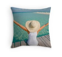 Woman and the Sea Throw Pillow