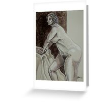 Leaning Female Nude (Drawing)- Greeting Card