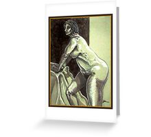 Leaning Female Nude (Digital Alteration of Drawing)- Greeting Card