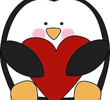 Valentine's Penguin holding heart by av08tp