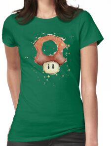 Red Mario Mushroom Watercolor Womens Fitted T-Shirt