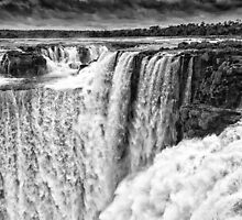 Iguazu Falls - Over the Edge - in Monochrome by photograham