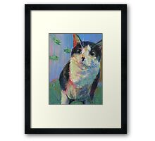 Fish where? Black and white Tuxedo cat w/fish Framed Print
