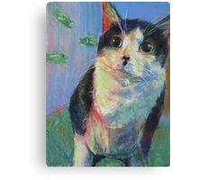Fish where? Black and white Tuxedo cat w/fish Canvas Print