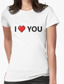 I LOVE YOU - Geek - 8 Bit Heart Womens Fitted T-Shirt