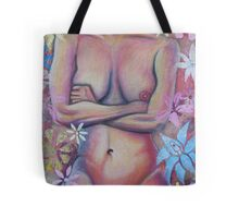 Nude Woman With Flowers Tote Bag