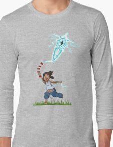 Young Avatar Korra and Raava fly a kite Long Sleeve T-Shirt