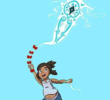 Young Avatar Korra and Raava fly a kite by Milmino