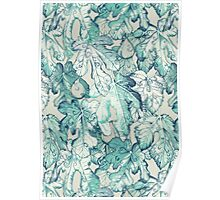 Fig Leaf Fancy - a pattern in teal and grey Poster