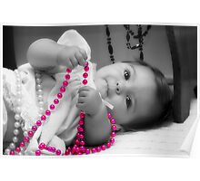 A Baby and her Beads!  Poster