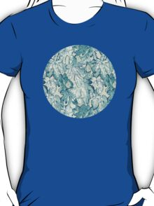Fig Leaf Fancy - a pattern in teal and grey T-Shirt
