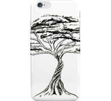 Whistling Thorn , Zen Bonsai African Tree Black and White Illustration iPhone Case/Skin