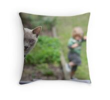 While the cat's looking away... the boy will play. Throw Pillow
