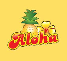 Aloha with cute tropical pineapple and hibiscus flower by jazzydevil