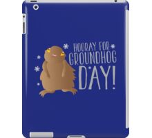 HOORAY FOR GROUNDHOG DAY! with cute little groundhog and snowflakes iPad Case/Skin