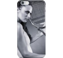 Young female tennis player with racket iPhone Case/Skin