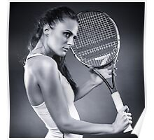 Young female tennis player with racket Poster
