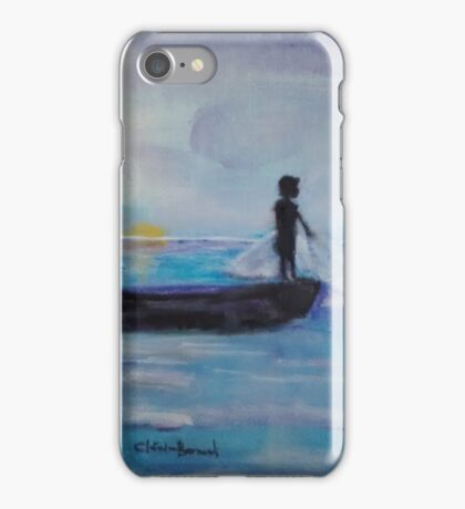 sunrising fishing boy,  iPhone Case/Skin