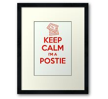 KEEP CALM, I'M A POSTIE Framed Print