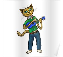 Cat On A Uke - ukulele-playing cat Poster