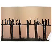 U Bein bridge, Mandalay, Myanmar Poster