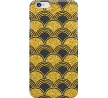 20's Glitter Glam, Gold and Charcoal Deco Pattern iPhone Case/Skin