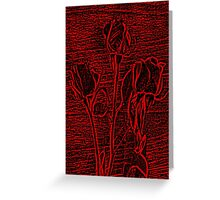 Roses in Red and Black Textured Digitally Enhanced Photograph Art Greeting Card