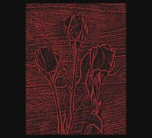 Roses in Red and Black Textured Digitally Enhanced Photograph Art One Piece - Short Sleeve