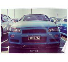 Nissan Skyline R34 Blue Poster