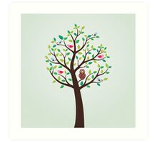 Birds And Owl In The Tree Art Print
