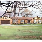 Childhood home watercolor by Mike Theuer