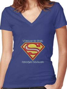 Woman of Steel - Scoliosis Awareness Women's Fitted V-Neck T-Shirt