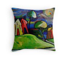 FARMHOUSES IN THE APPLE COLOURED FIELDS. Throw Pillow