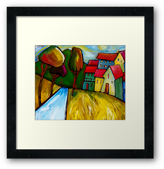 ROAD  INTO  TOWN. by ART PRINTS ONLINE         by artist SARA  CATENA