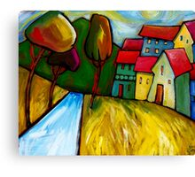 ROAD  INTO  TOWN. Canvas Print