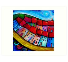 HOUSES ON THE HILLSIDE - CINQUE TERRE - ITALY. Art Print
