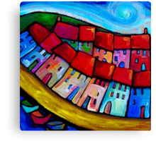 HOUSES ON THE HILLSIDE - CINQUE TERRE - ITALY. Canvas Print