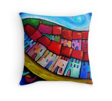 HOUSES ON THE HILLSIDE - CINQUE TERRE - ITALY. Throw Pillow