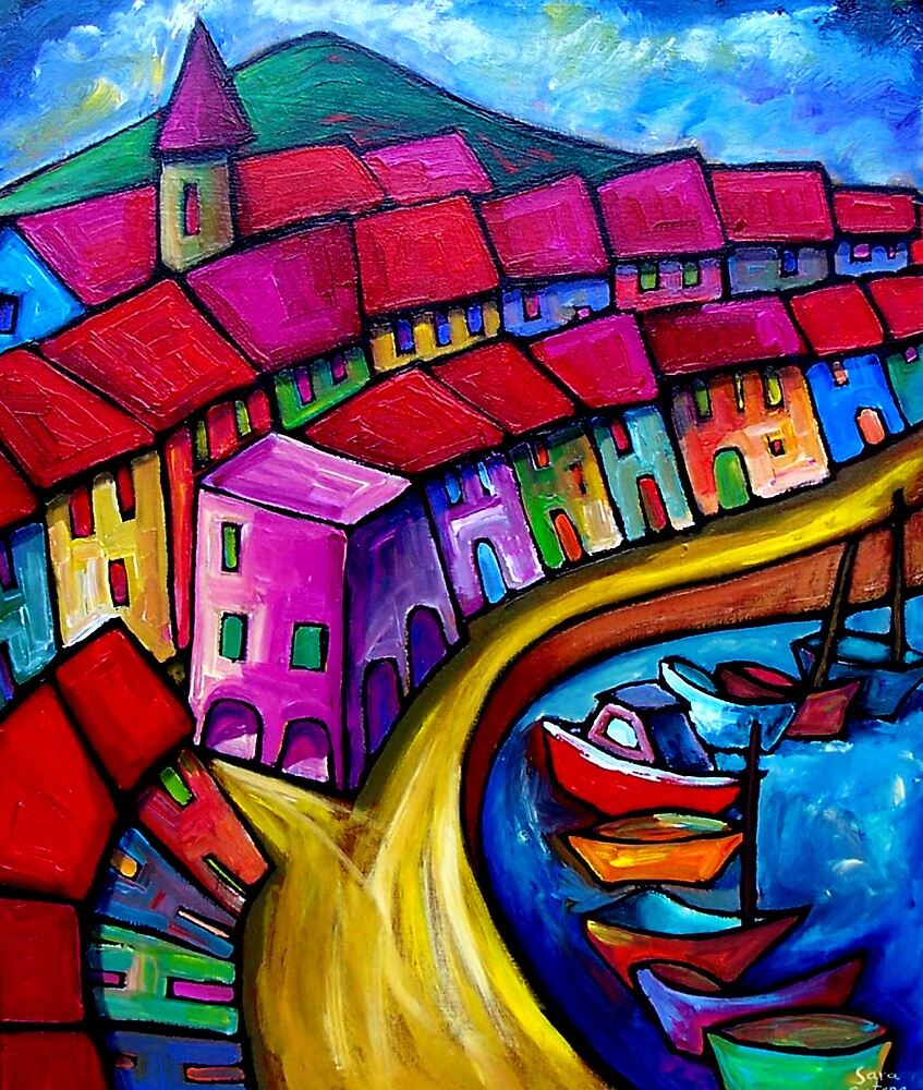 Colourful port of corricella italy by art prints for Online art gallery paintings