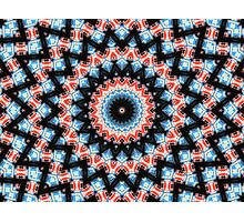 Black, blue and red Mandala Star Photographic Print