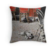 C'est une chienne de vie (It's a dog's life!) Throw Pillow