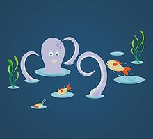Octopus playing with fish by bicone