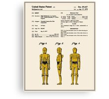 C3P0 Patent - Colour Canvas Print