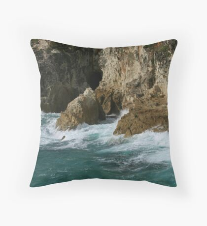 Ocean Meets Rock Throw Pillow