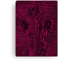 Roses in Pink and Black Textured Digitally Enhanced Photograph Art Canvas Print