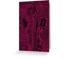 Roses in Pink and Black Textured Digitally Enhanced Photograph Art Greeting Card