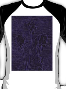 Roses in Purple and Black Textured Digitally Enhanced Photograph Art T-Shirt