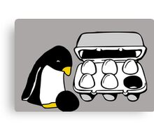LINUX TUX PENGUIN EGG BOX BLACK EGG Canvas Print
