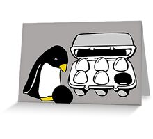 LINUX TUX PENGUIN EGG BOX BLACK EGG Greeting Card