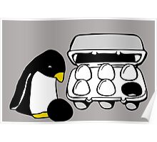 LINUX TUX PENGUIN EGG BOX BLACK EGG Poster